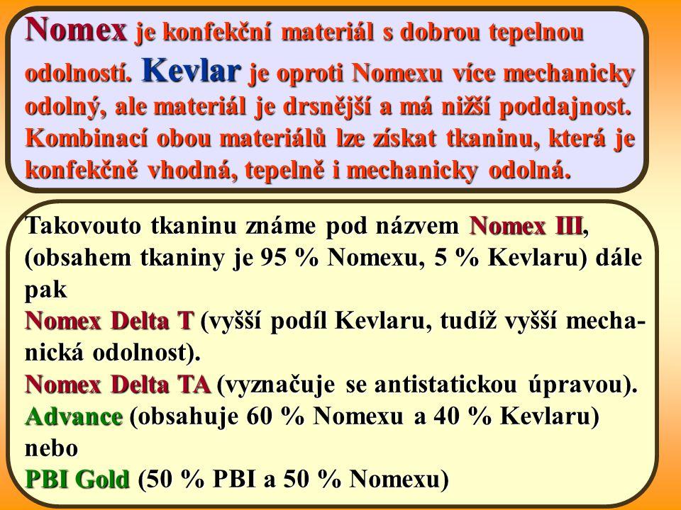 Nomex je konfekční materiál s dobrou tepelnou odolností