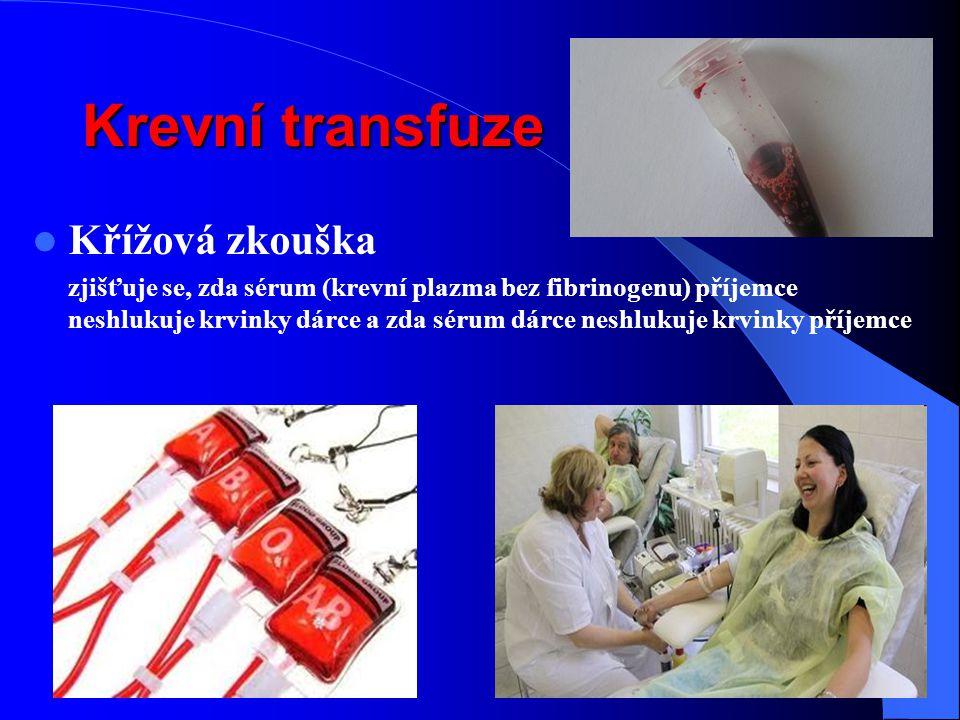 Krevní transfuze Křížová zkouška