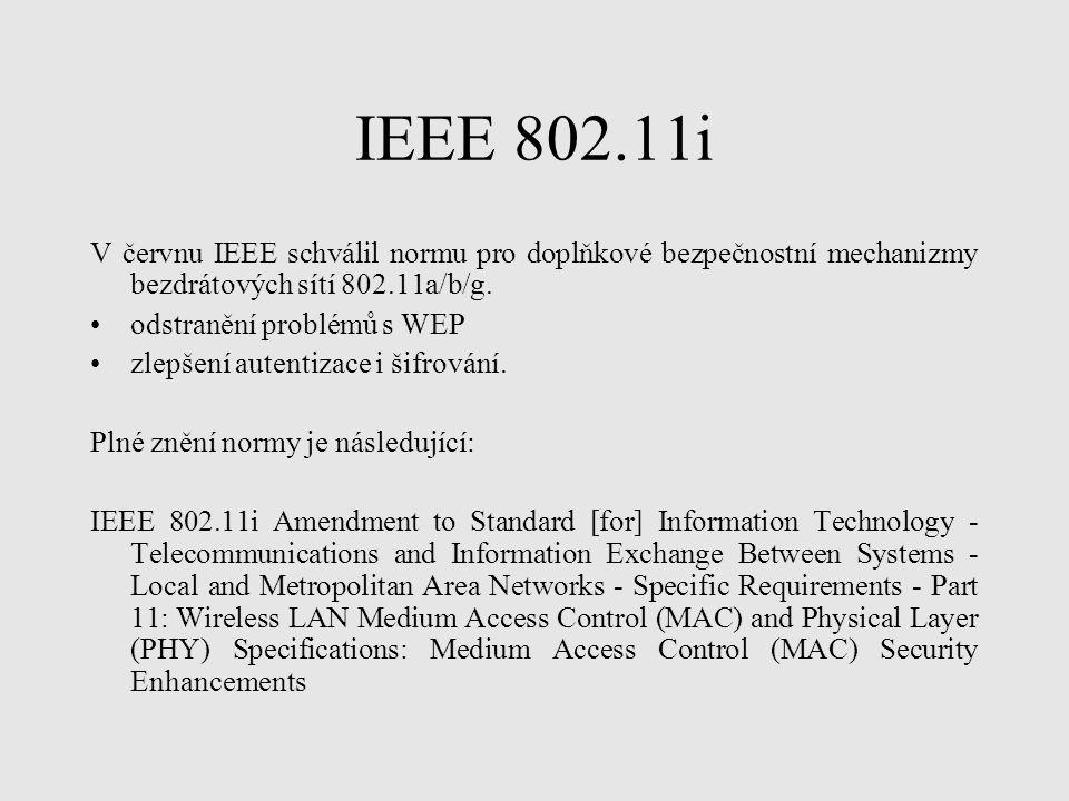 IEEE 802.11i V červnu IEEE schválil normu pro doplňkové bezpečnostní mechanizmy bezdrátových sítí 802.11a/b/g.