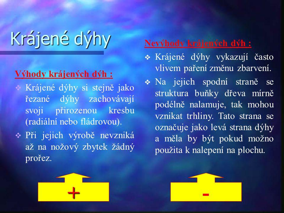 + - Krájené dýhy Nevýhody krájených dýh :