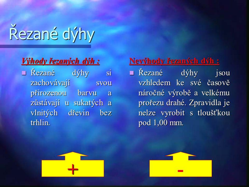 + - Řezané dýhy Výhody řezaných dýh :