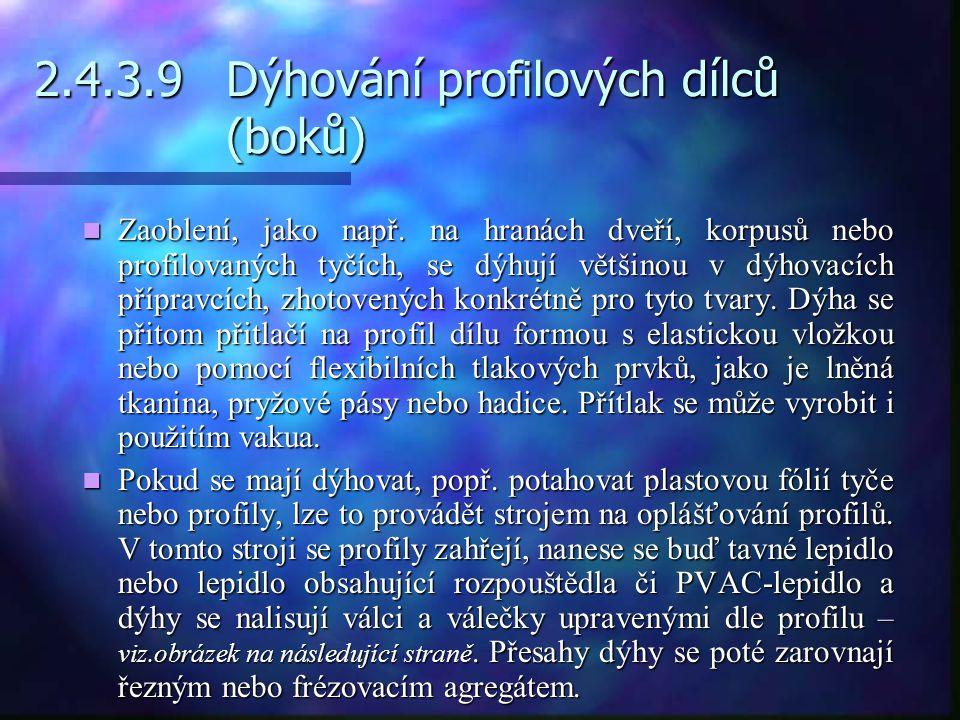2.4.3.9 Dýhování profilových dílců (boků)