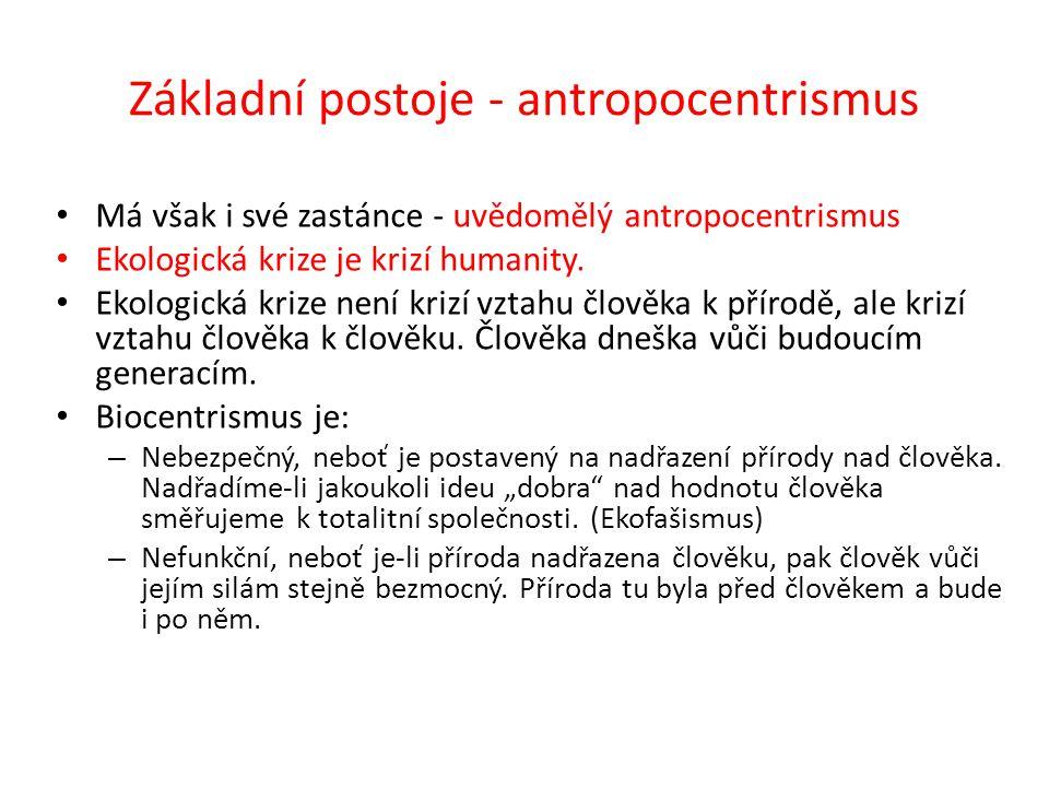 Základní postoje - antropocentrismus