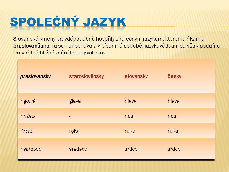 Společný jazyk Slovanské kmeny pravděpodobně hovořily společným jazykem, kterému říkáme.