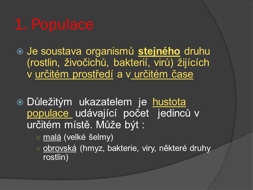 1. Populace Je soustava organismů stejného druhu (rostlin, živočichů, bakterií, virů) žijících v určitém prostředí a v určitém čase.