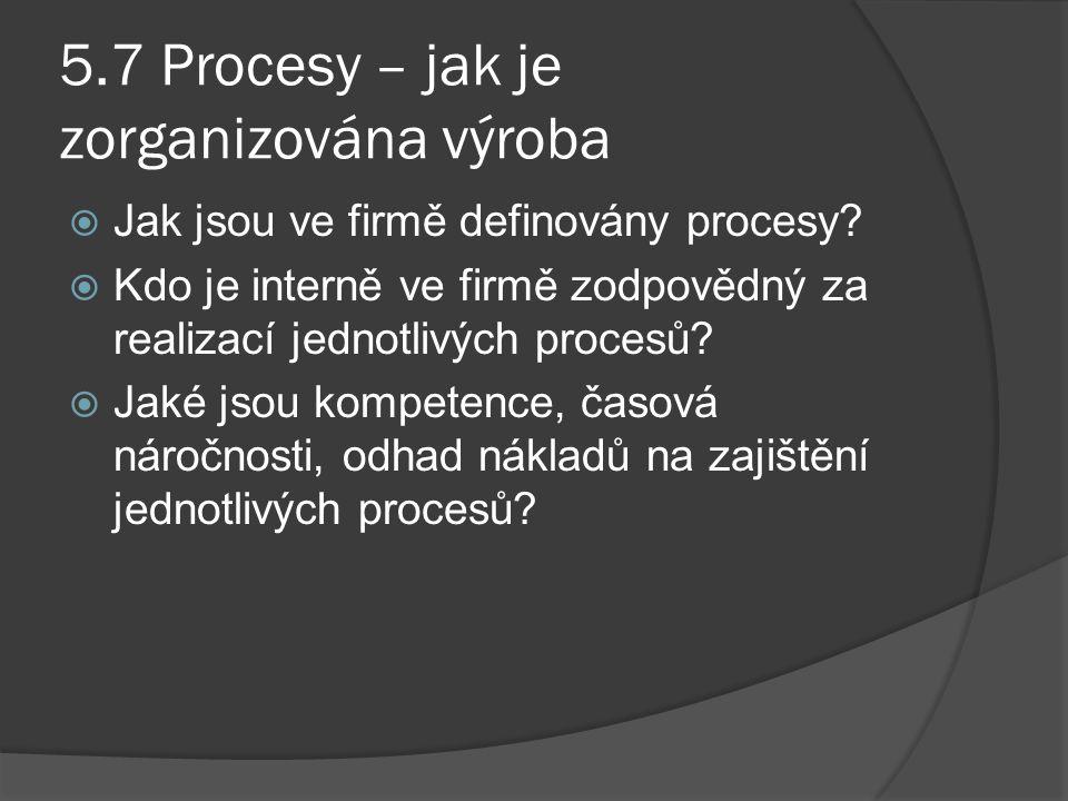 5.7 Procesy – jak je zorganizována výroba