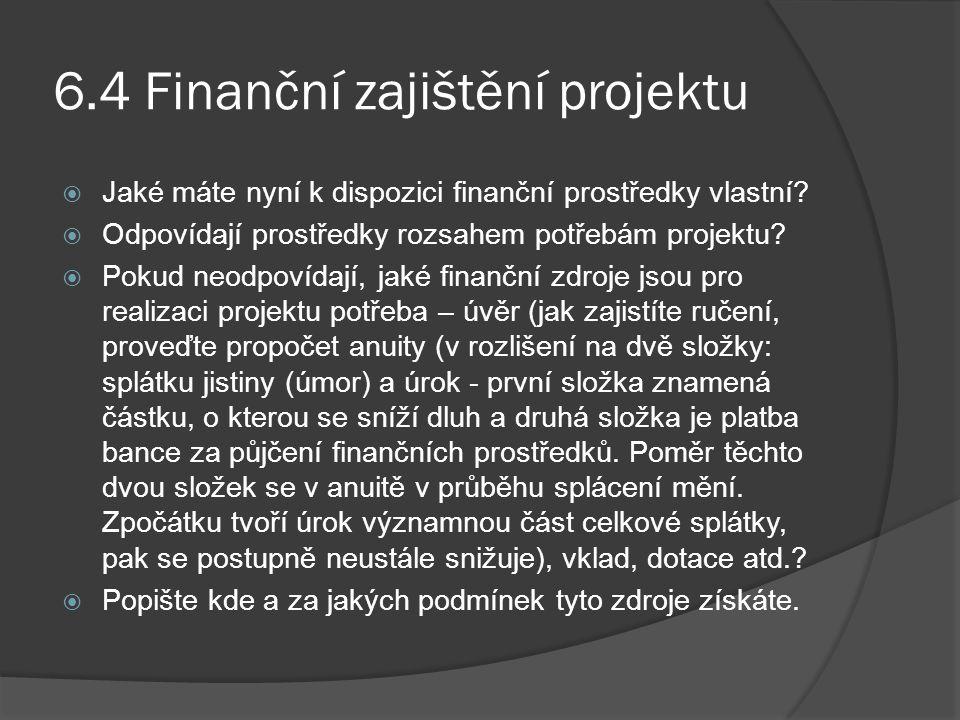 6.4 Finanční zajištění projektu