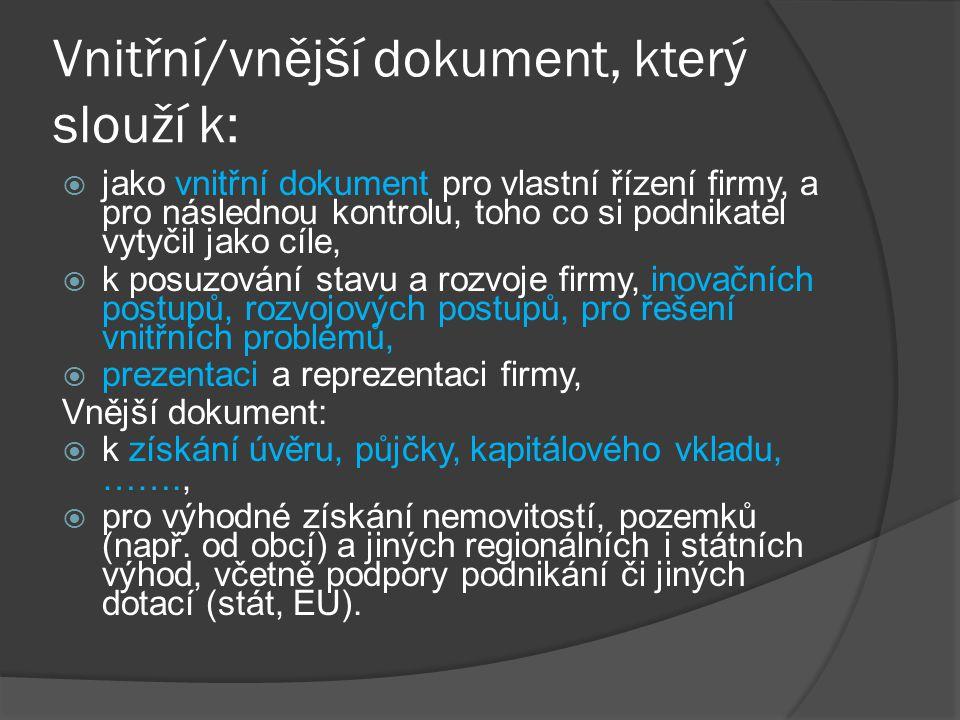 Vnitřní/vnější dokument, který slouží k: