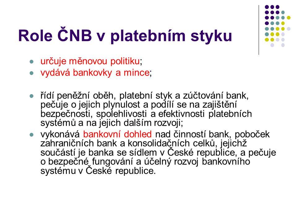 Role ČNB v platebním styku