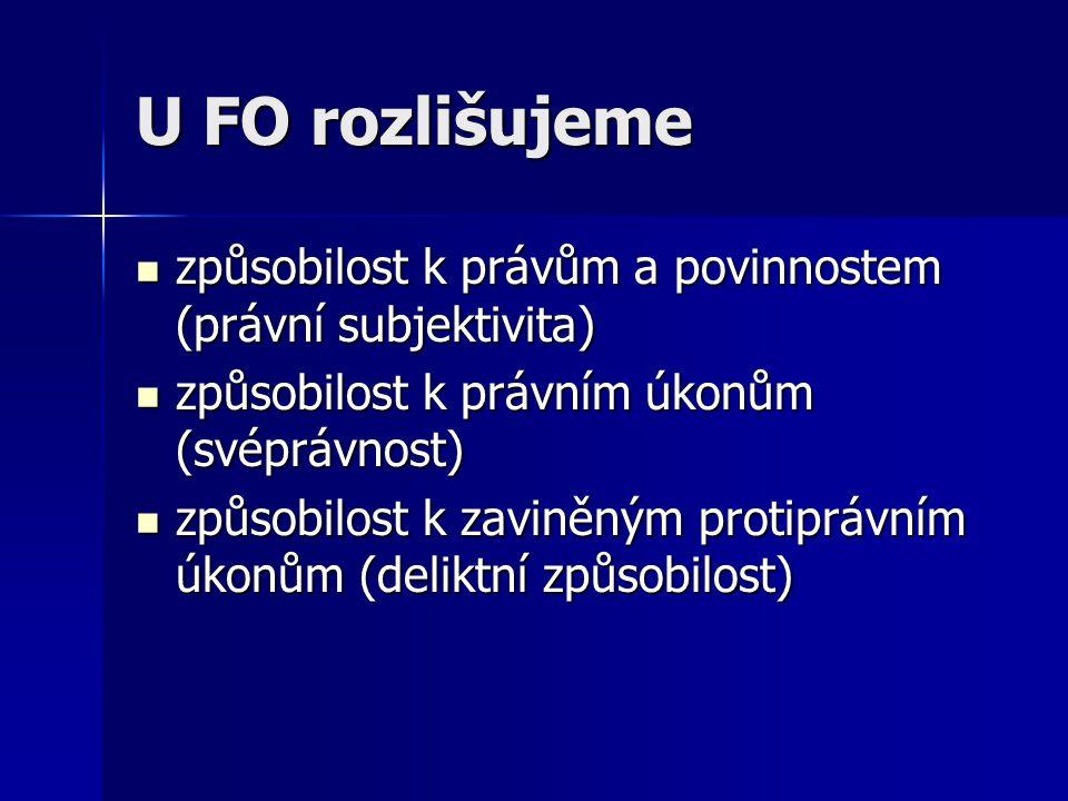 U FO rozlišujeme způsobilost k právům a povinnostem (právní subjektivita) způsobilost k právním úkonům (svéprávnost)