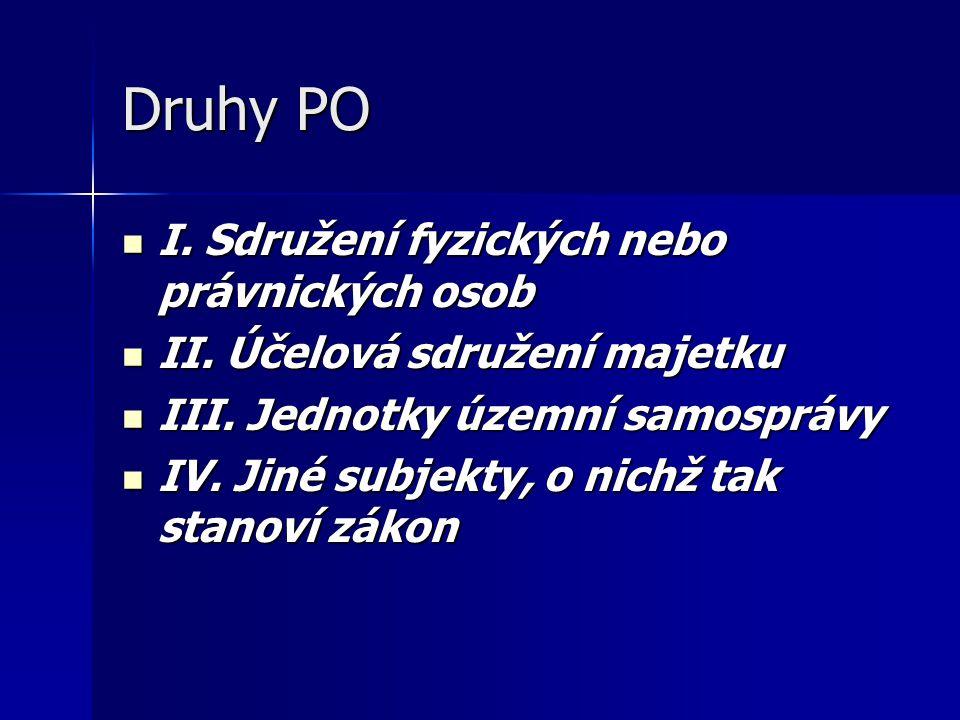 Druhy PO I. Sdružení fyzických nebo právnických osob
