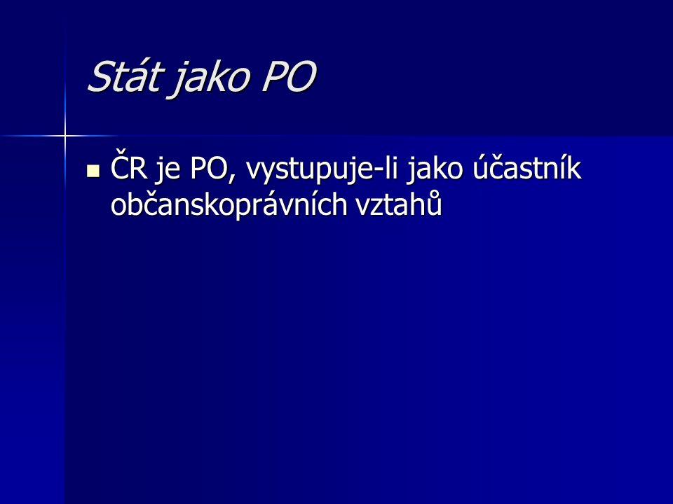 Stát jako PO ČR je PO, vystupuje-li jako účastník občanskoprávních vztahů