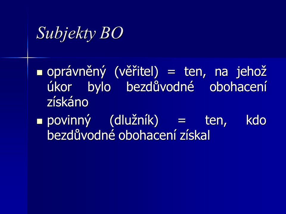 Subjekty BO oprávněný (věřitel) = ten, na jehož úkor bylo bezdůvodné obohacení získáno.
