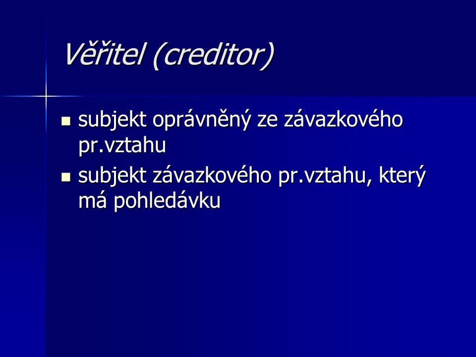 Věřitel (creditor) subjekt oprávněný ze závazkového pr.vztahu