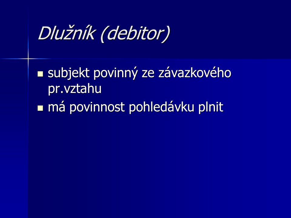 Dlužník (debitor) subjekt povinný ze závazkového pr.vztahu
