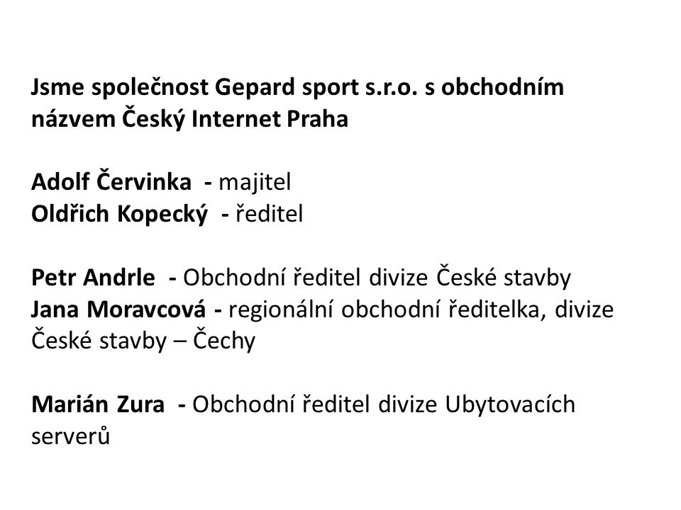 Jsme společnost Gepard sport s. r. o