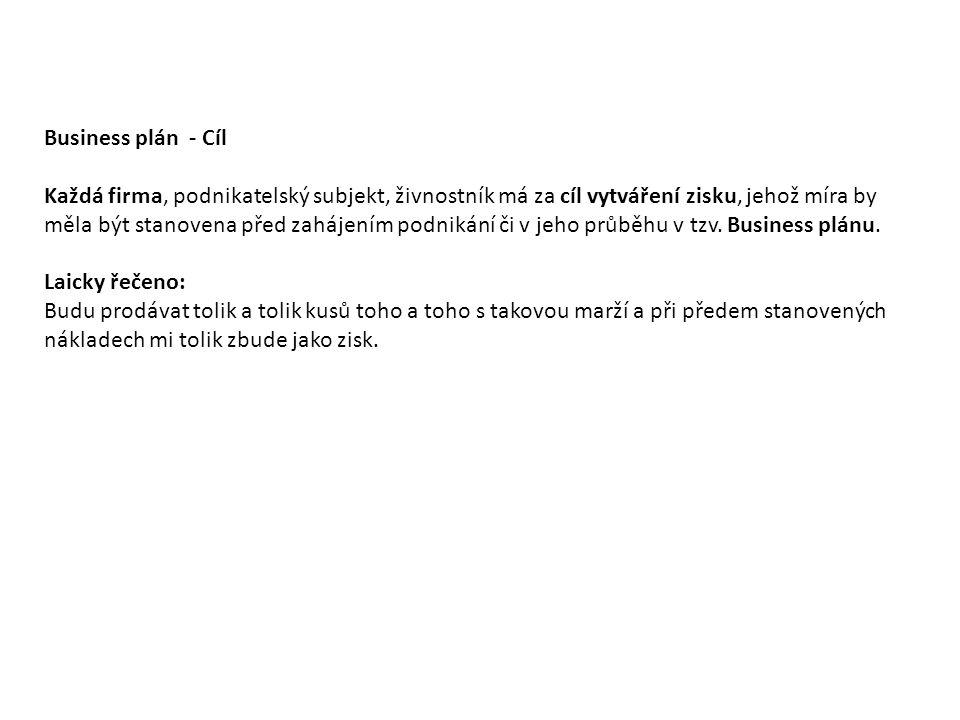 Business plán - Cíl