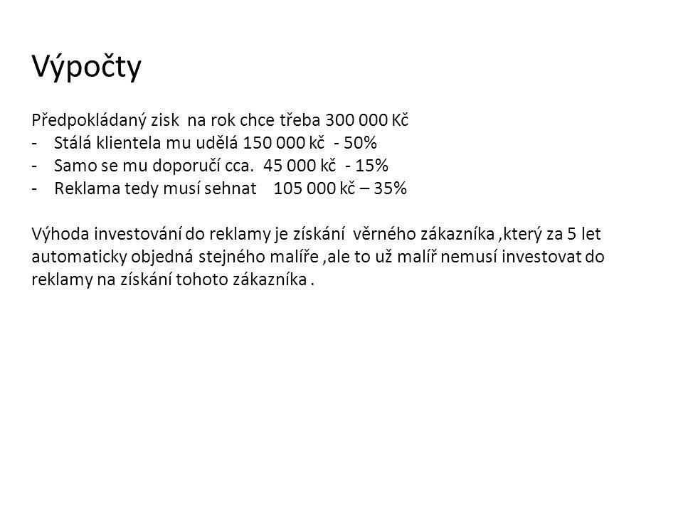 Výpočty Předpokládaný zisk na rok chce třeba 300 000 Kč