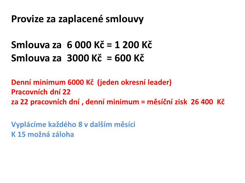 Provize za zaplacené smlouvy Smlouva za 6 000 Kč = 1 200 Kč Smlouva za 3000 Kč = 600 Kč Denní minimum 6000 Kč (jeden okresní leader) Pracovních dní 22 za 22 pracovních dní , denní minimum = měsíční zisk 26 400 Kč Vyplácíme každého 8 v dalším měsíci K 15 možná záloha