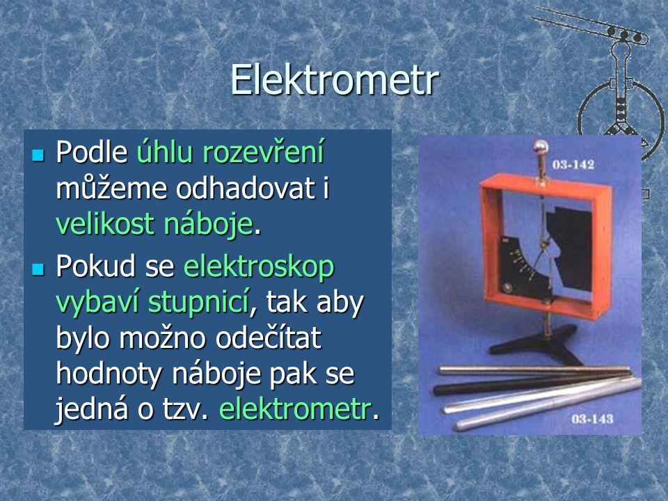 Elektrometr Podle úhlu rozevření můžeme odhadovat i velikost náboje.