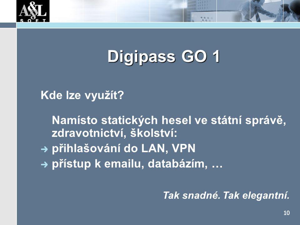 """Digipass GO 1 Výhody snadné ovládání, přitažlivý design, příslušenství. koncept použití """"Get And Snap"""