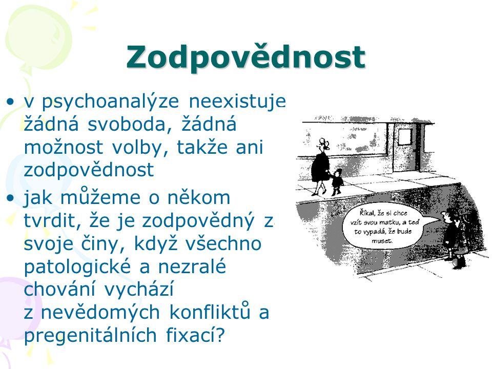 Zodpovědnost v psychoanalýze neexistuje žádná svoboda, žádná možnost volby, takže ani zodpovědnost.