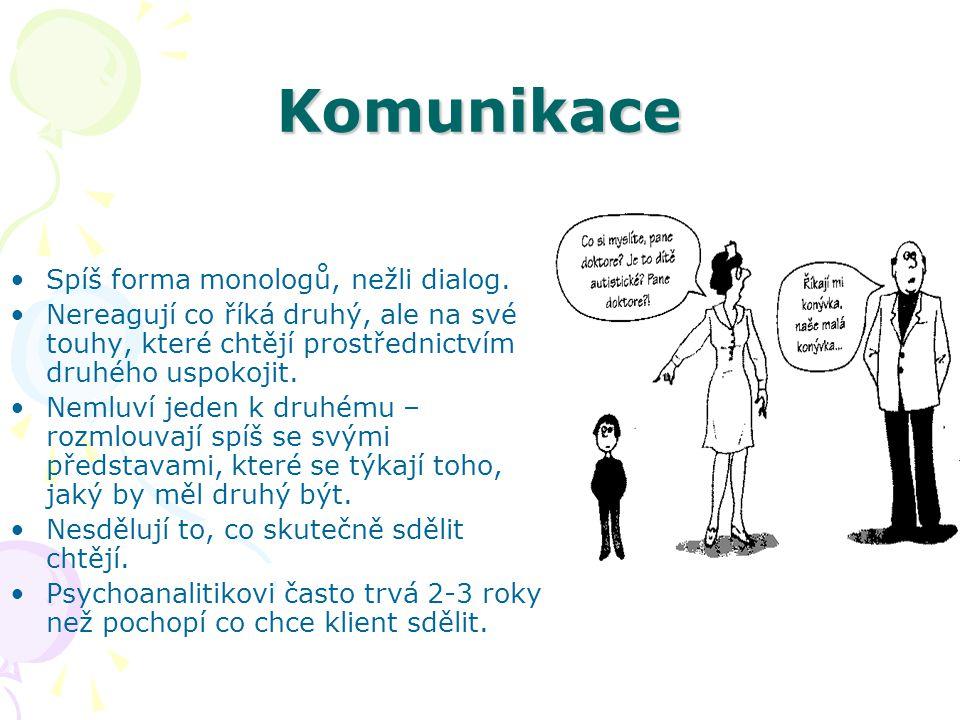 Komunikace Spíš forma monologů, nežli dialog.