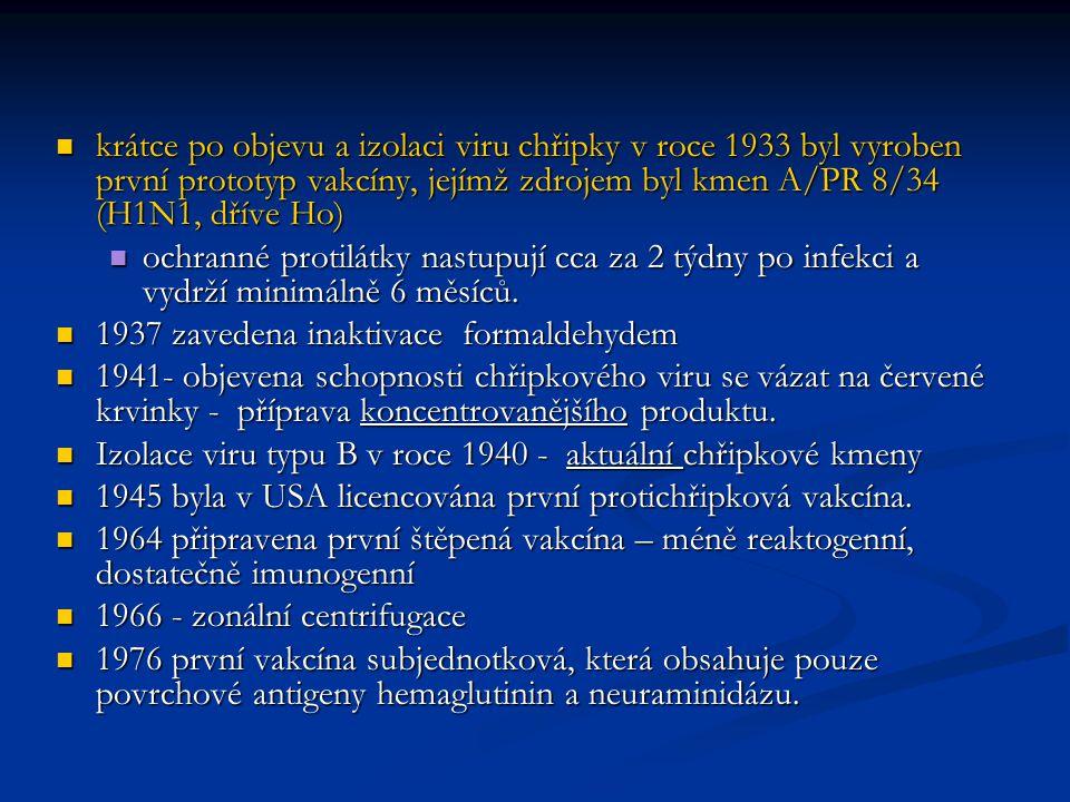krátce po objevu a izolaci viru chřipky v roce 1933 byl vyroben první prototyp vakcíny, jejímž zdrojem byl kmen A/PR 8/34 (H1N1, dříve Ho)