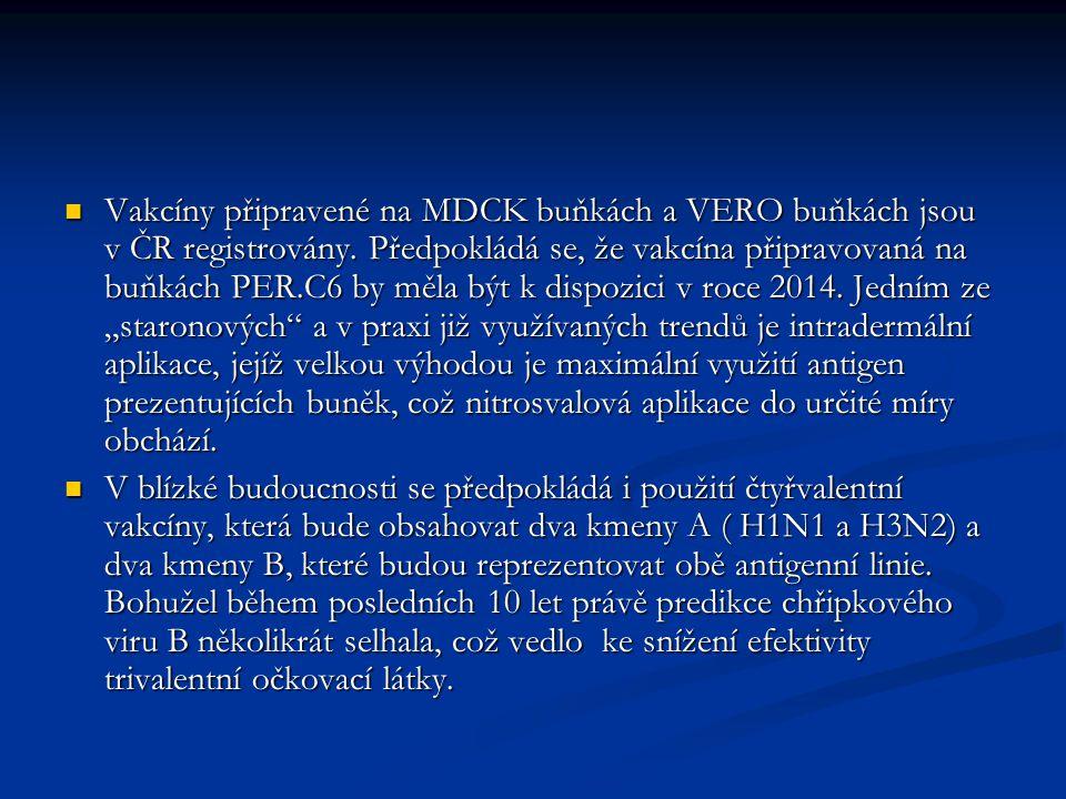 """Vakcíny připravené na MDCK buňkách a VERO buňkách jsou v ČR registrovány. Předpokládá se, že vakcína připravovaná na buňkách PER.C6 by měla být k dispozici v roce 2014. Jedním ze """"staronových a v praxi již využívaných trendů je intradermální aplikace, jejíž velkou výhodou je maximální využití antigen prezentujících buněk, což nitrosvalová aplikace do určité míry obchází."""