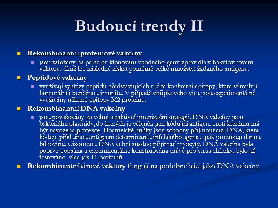 Budoucí trendy II Rekombinantní proteinové vakcíny Peptidové vakcíny