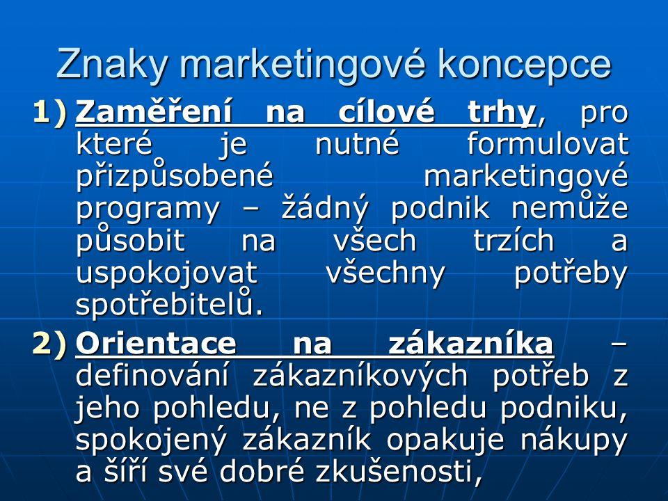 Znaky marketingové koncepce