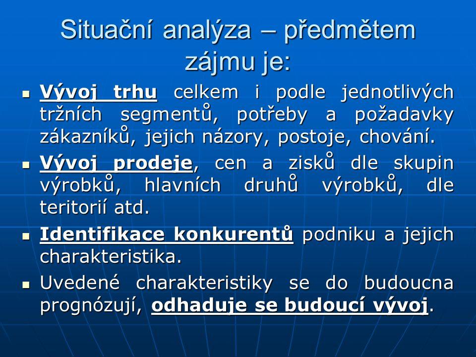 Situační analýza – předmětem zájmu je: