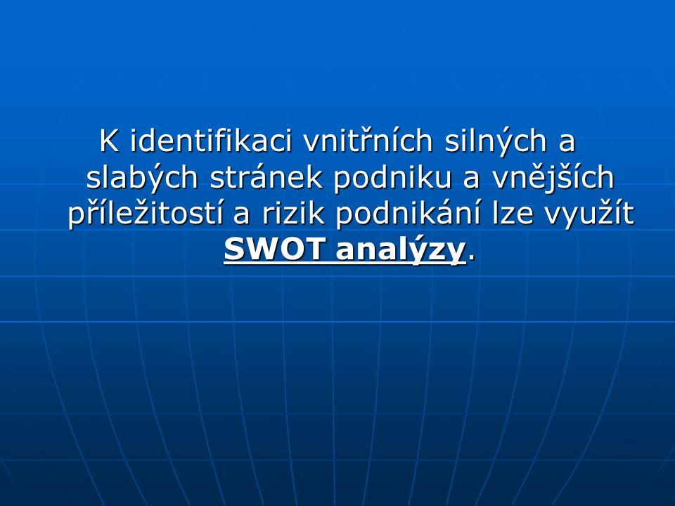 K identifikaci vnitřních silných a slabých stránek podniku a vnějších příležitostí a rizik podnikání lze využít SWOT analýzy.