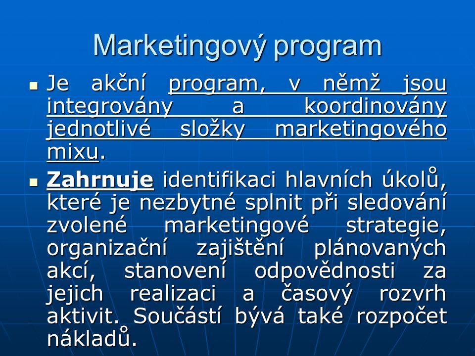 Marketingový program Je akční program, v němž jsou integrovány a koordinovány jednotlivé složky marketingového mixu.