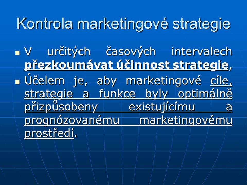 Kontrola marketingové strategie