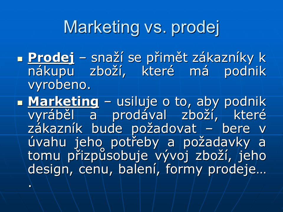 Marketing vs. prodej Prodej – snaží se přimět zákazníky k nákupu zboží, které má podnik vyrobeno.