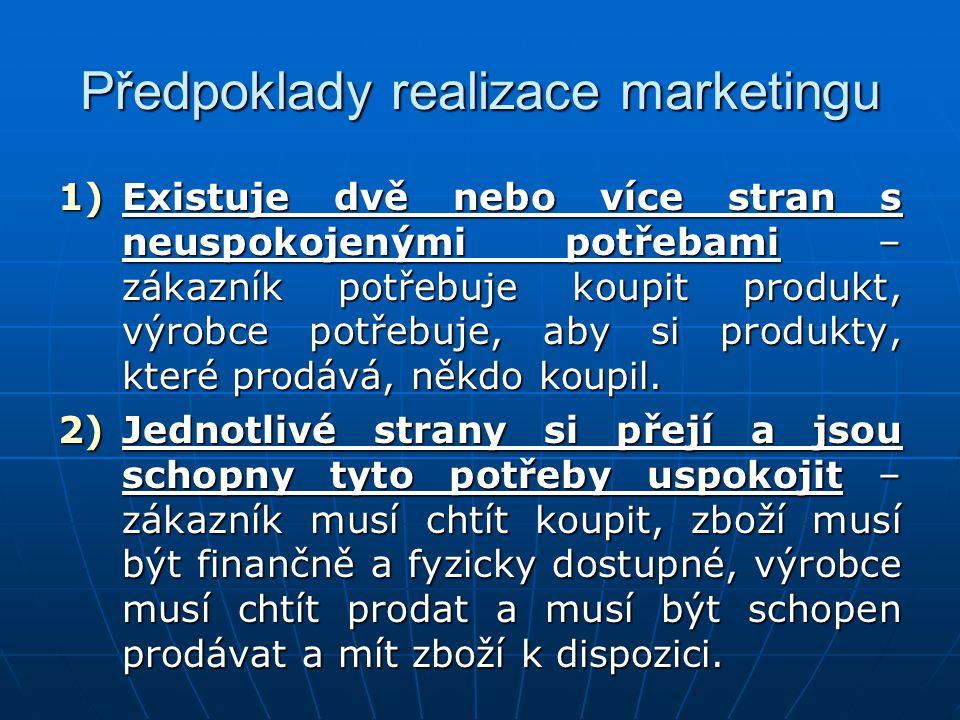 Předpoklady realizace marketingu