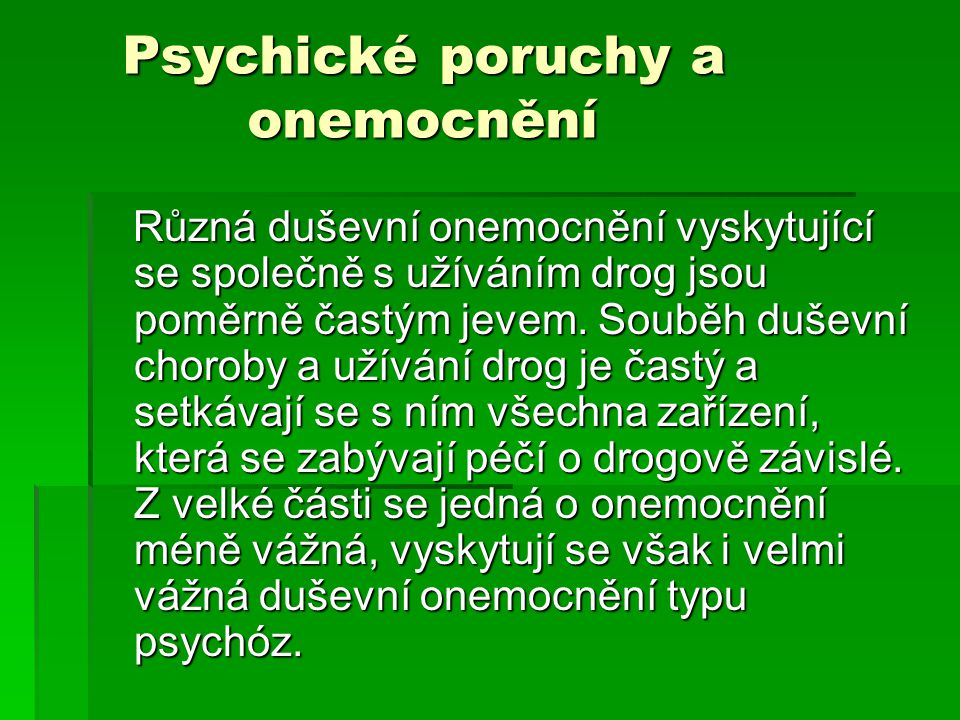 Psychické poruchy a onemocnění