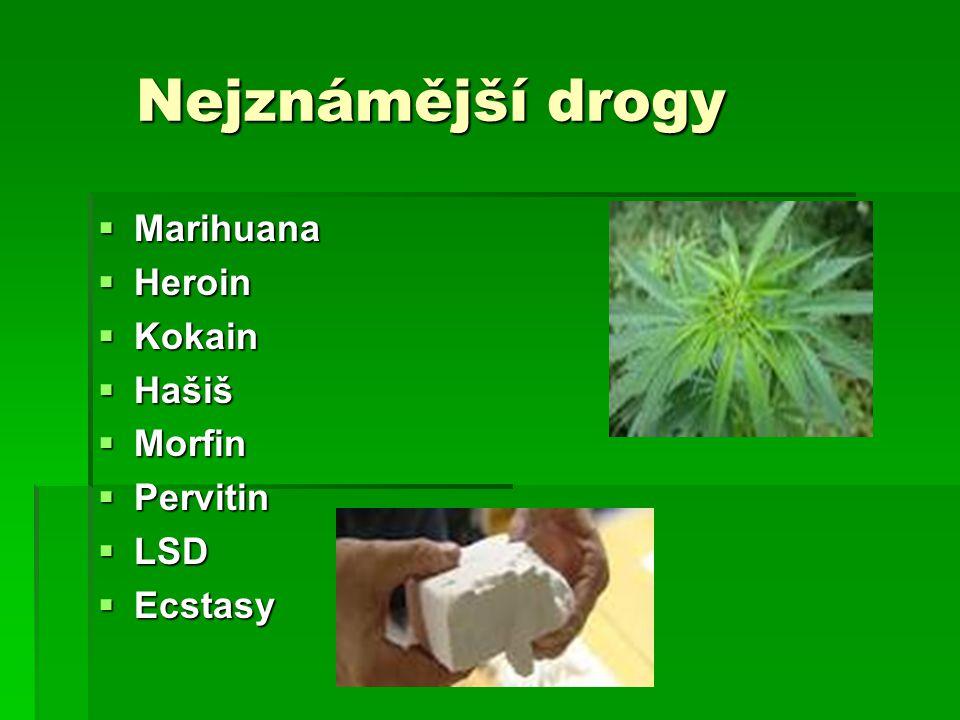 Nejznámější drogy Marihuana Heroin Kokain Hašiš Morfin Pervitin LSD
