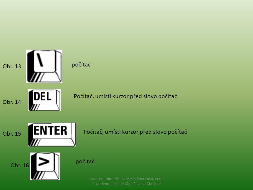 Počítač, umísti kurzor před slovo počítač Obr. 14