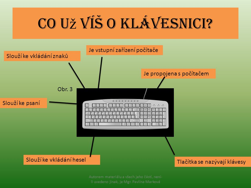 Co už víš o klávesnici Je vstupní zařízení počítače