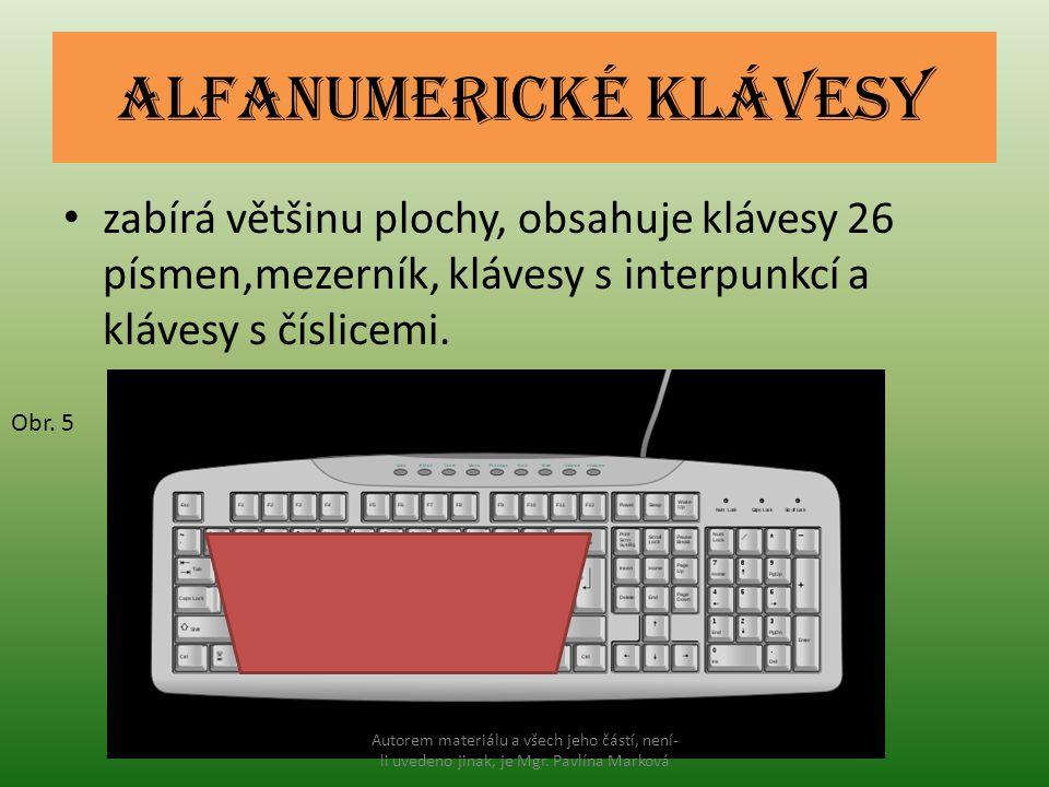 Alfanumerické klávesy