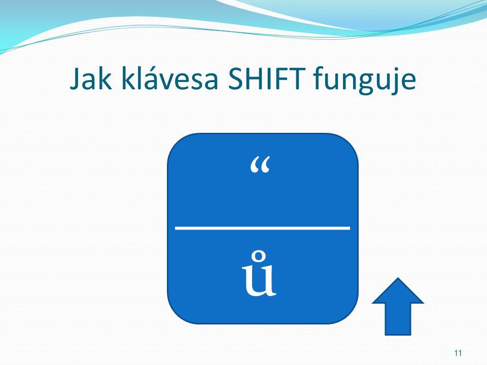 Jak klávesa SHIFT funguje