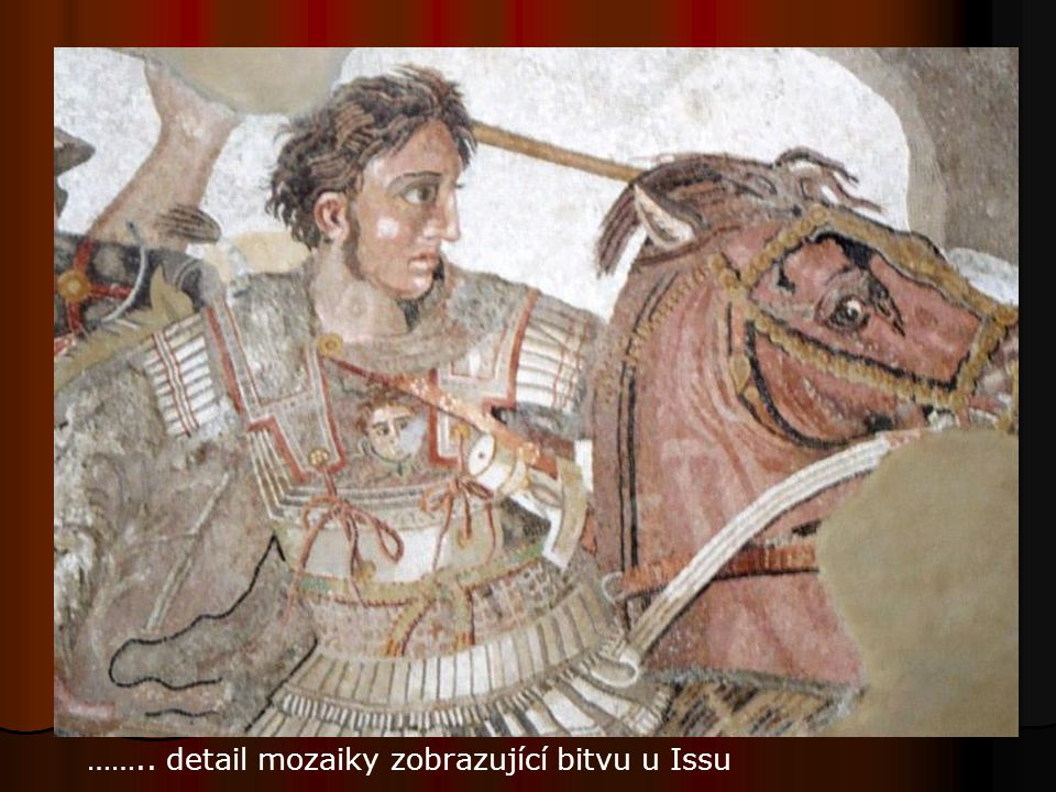 …….. detail mozaiky zobrazující bitvu u Issu