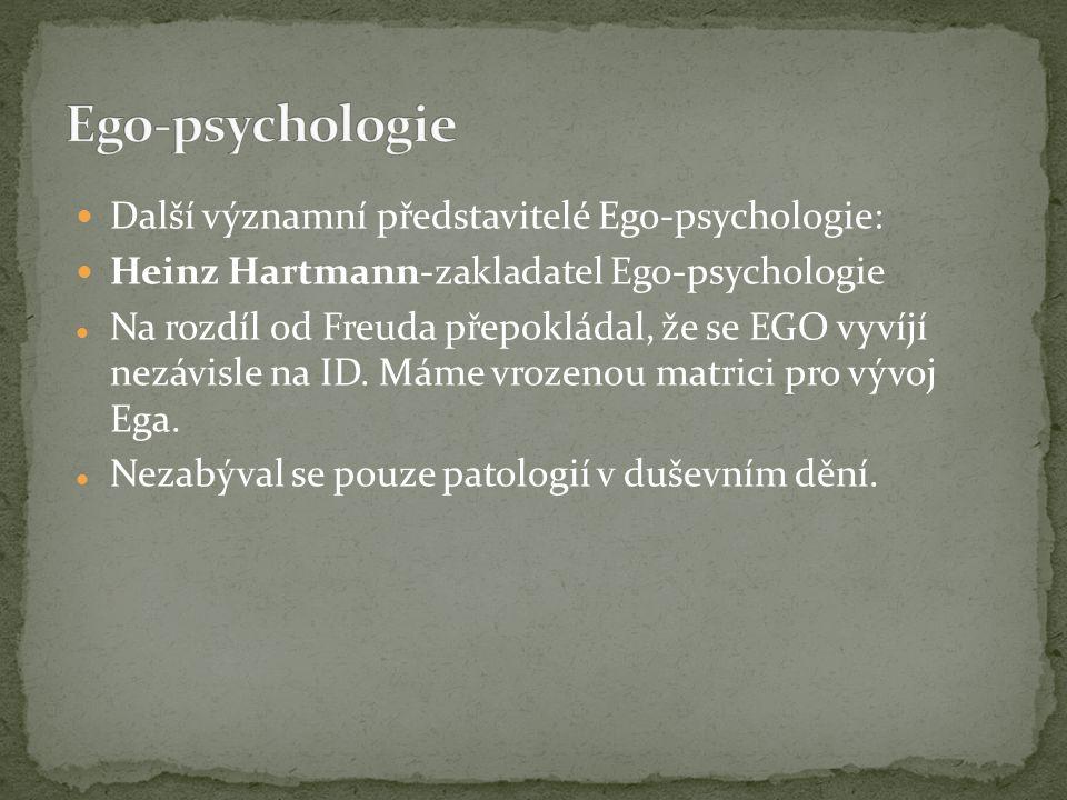 Ego-psychologie Další významní představitelé Ego-psychologie: