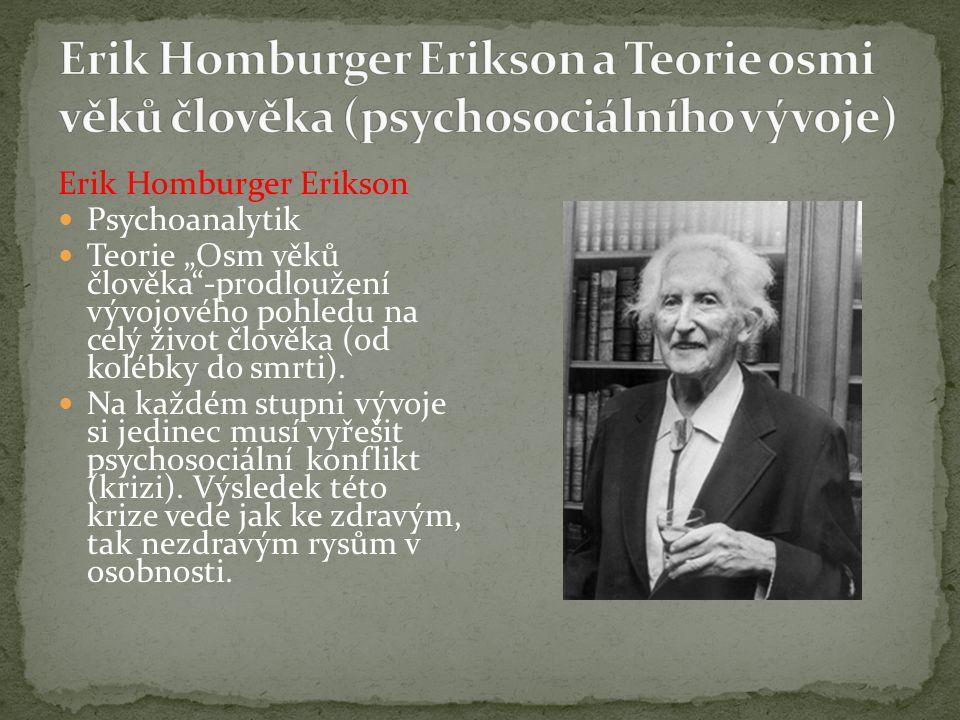 Erik Homburger Erikson a Teorie osmi věků člověka (psychosociálního vývoje)