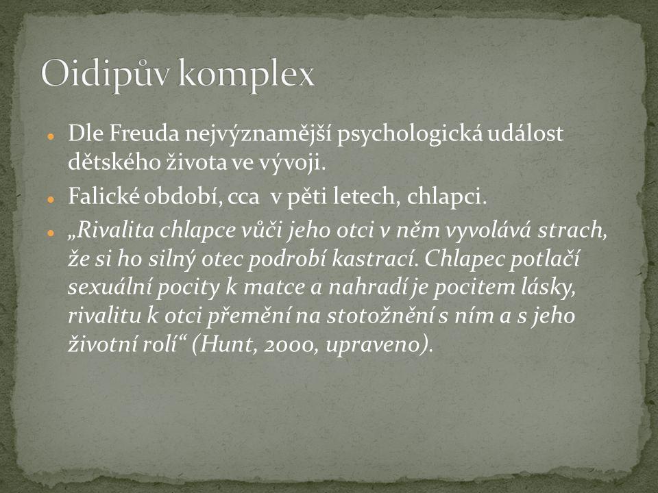 Oidipův komplex Dle Freuda nejvýznamější psychologická událost dětského života ve vývoji. Falické období, cca v pěti letech, chlapci.