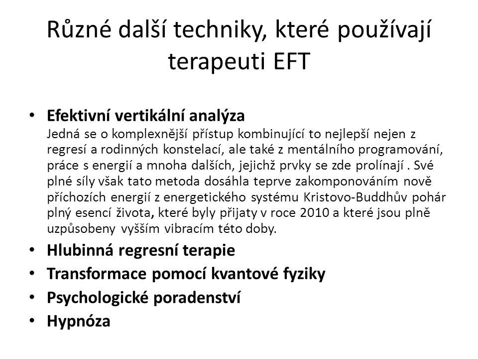Různé další techniky, které používají terapeuti EFT