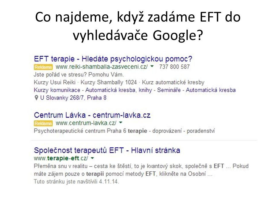 Co najdeme, když zadáme EFT do vyhledávače Google