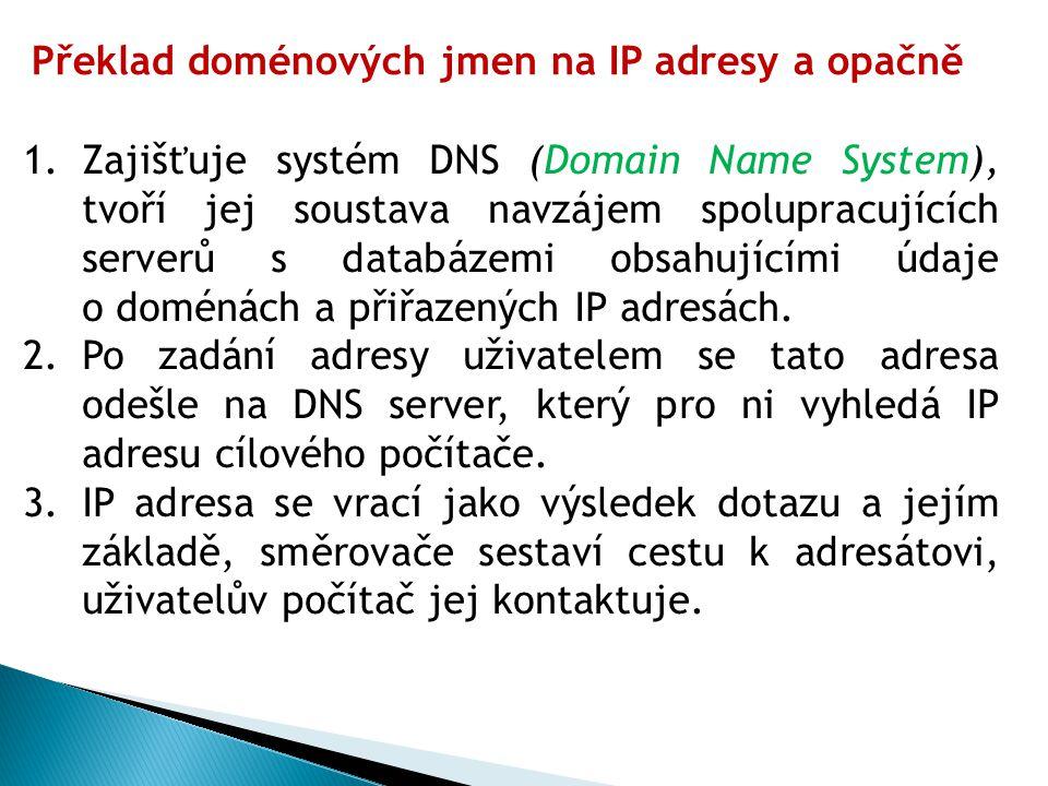 Překlad doménových jmen na IP adresy a opačně